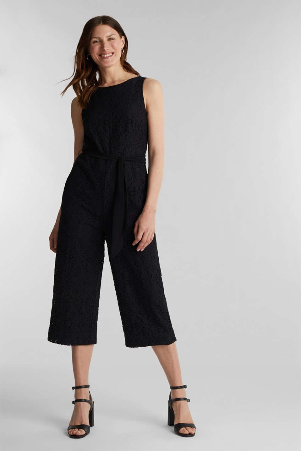 Lace jumpsuit, BLACK, detail image number 0