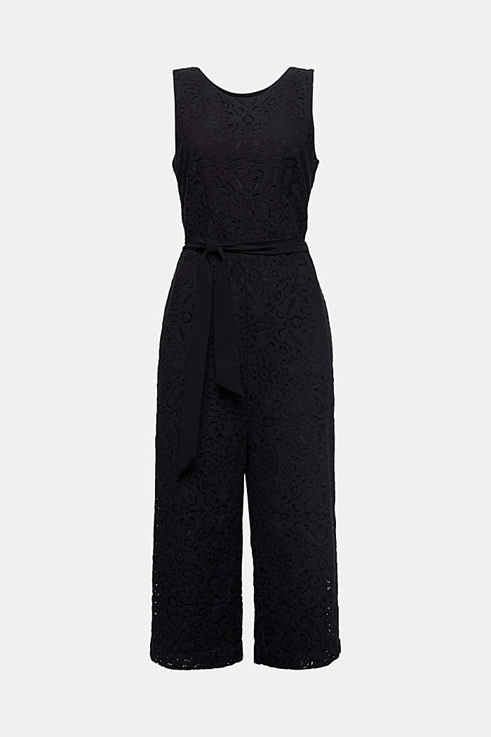 Lace jumpsuit, BLACK, overview
