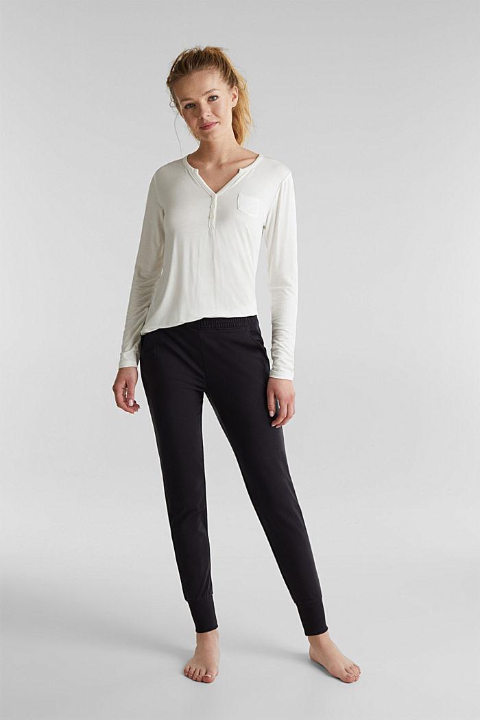 Sweat-Pants aus glattem Jersey, NAVY, detail image number 1