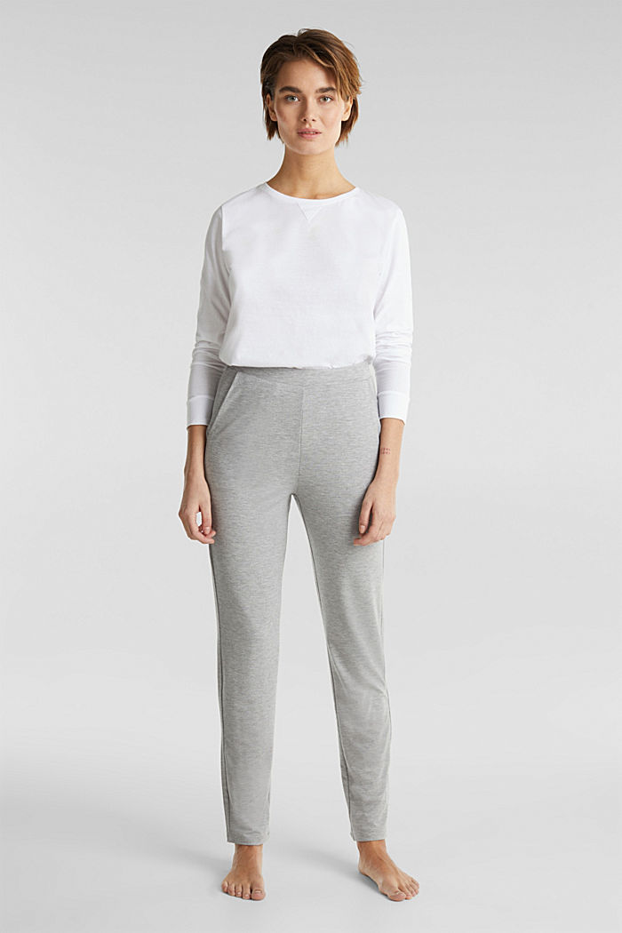 Containing LENZING™ ECOVERO™: jersey trousers, PASTEL GREY, detail image number 0