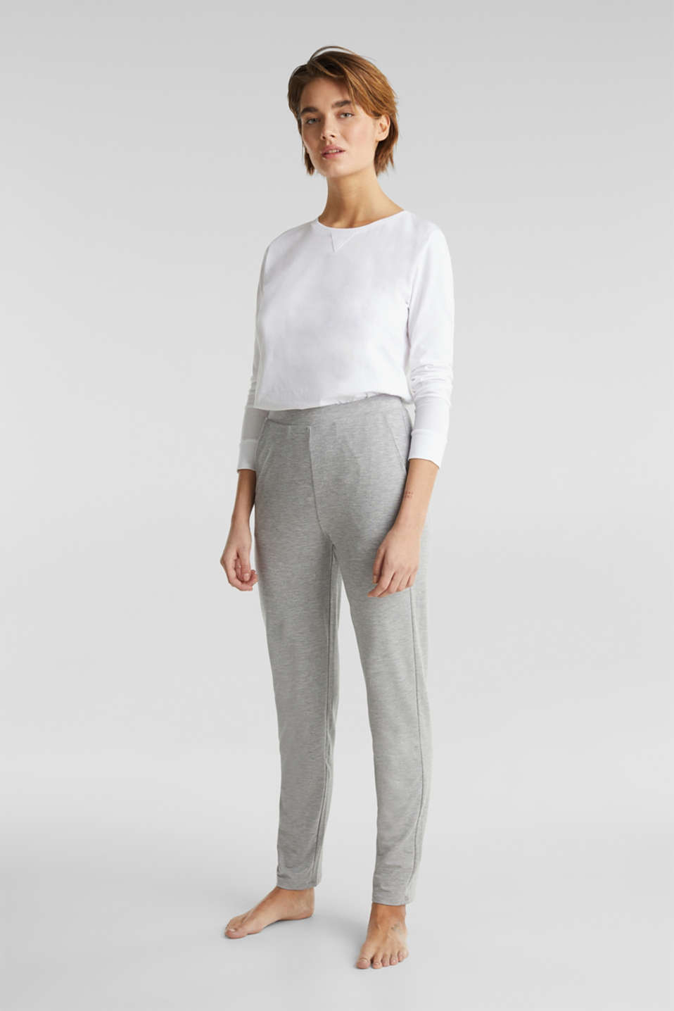 Containing LENZING™ ECOVERO™: jersey trousers, PASTEL GREY, detail image number 1