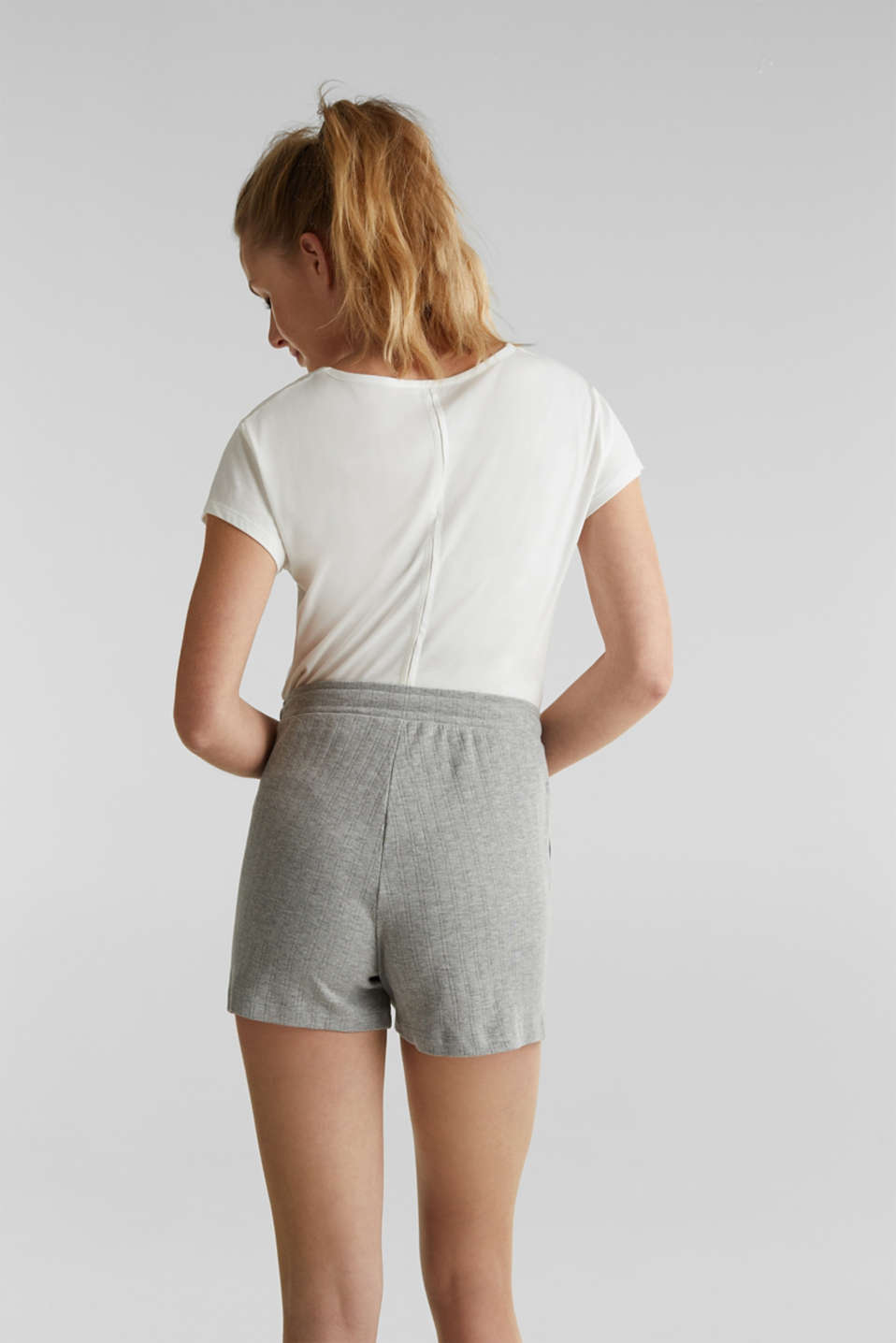 Jersey shorts with a ribbed texture, PASTEL GREY, detail image number 3