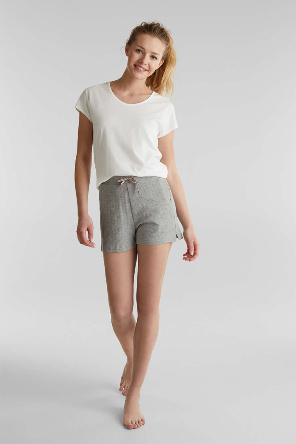 Jersey shorts with a ribbed texture, PASTEL GREY, detail image number 1