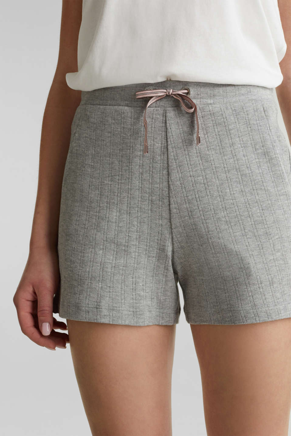 Jersey shorts with a ribbed texture, PASTEL GREY, detail image number 2