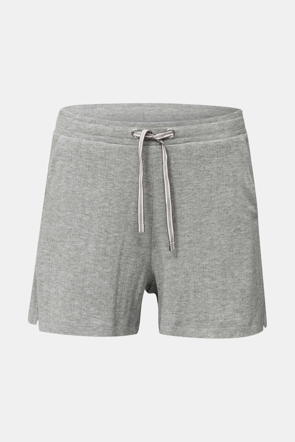 Jersey shorts with a ribbed texture, PASTEL GREY, detail image number 5