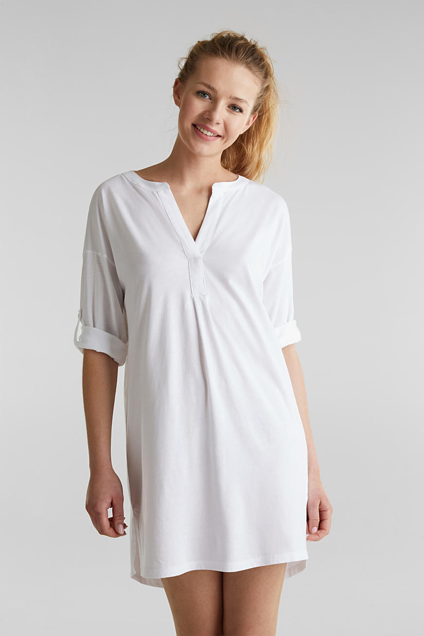 Tunic top with turn-up sleeves