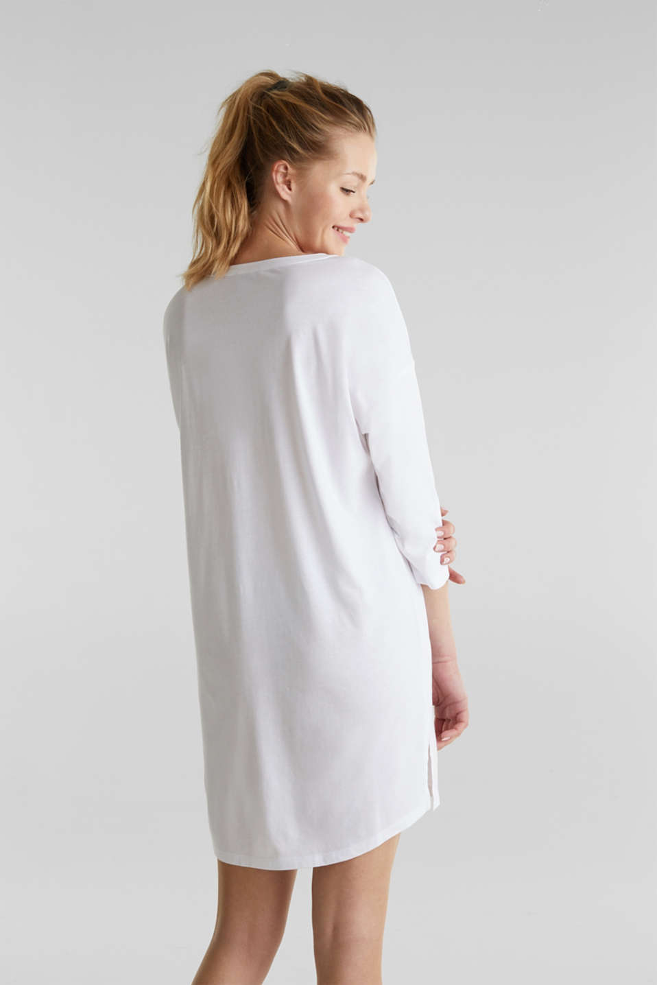 Tunic top with turn-up sleeves, WHITE, detail image number 2