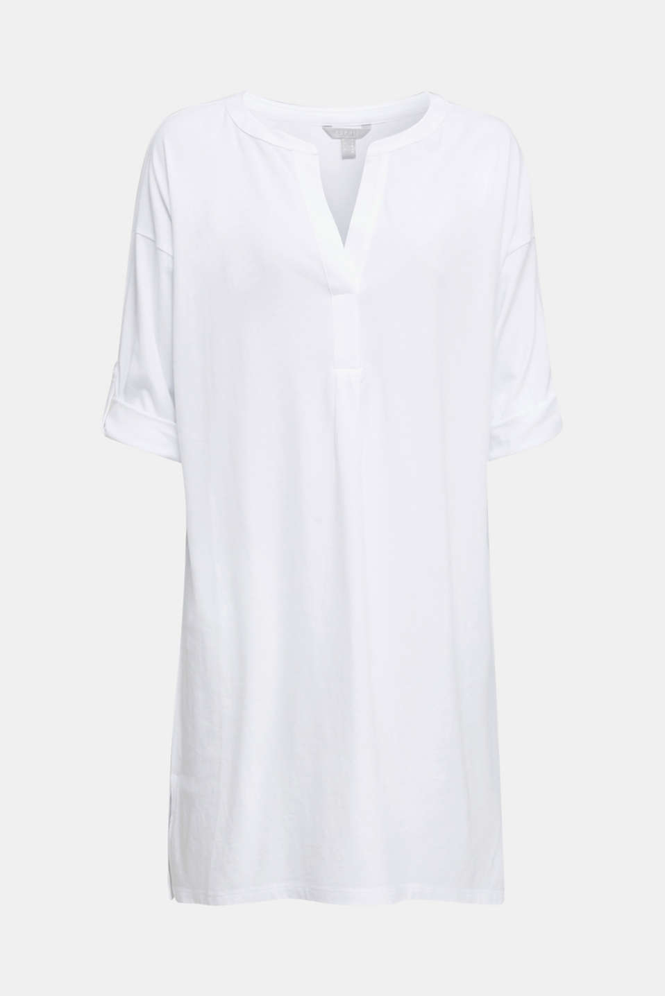 Tunic top with turn-up sleeves, WHITE, detail image number 6