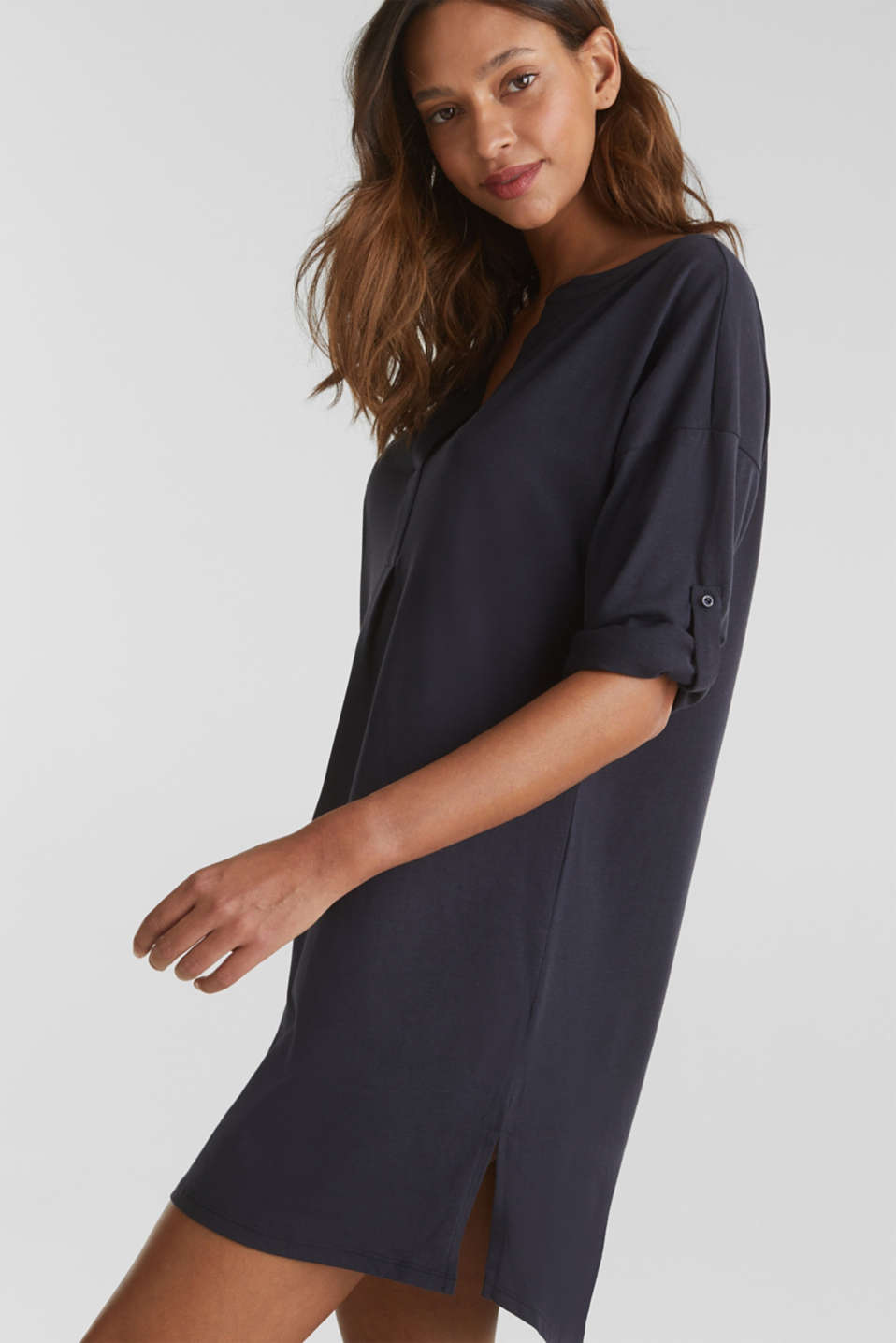 Tunic top with turn-up sleeves, NAVY, detail image number 0