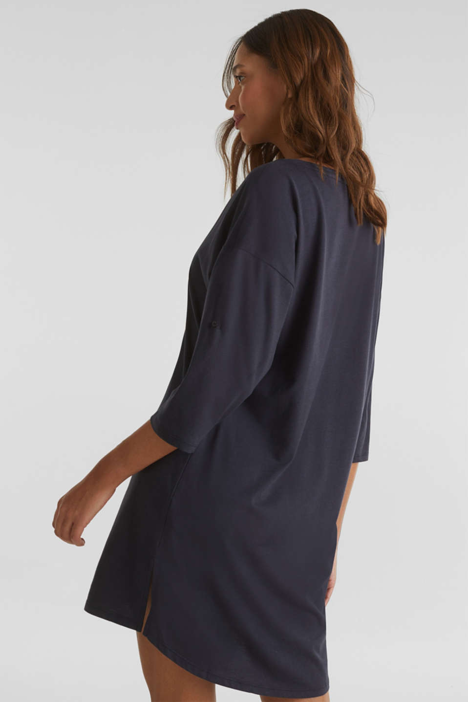 Tunic top with turn-up sleeves, NAVY, detail image number 2