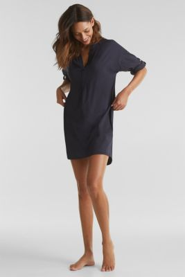 Tunic top with turn-up sleeves, NAVY, detail