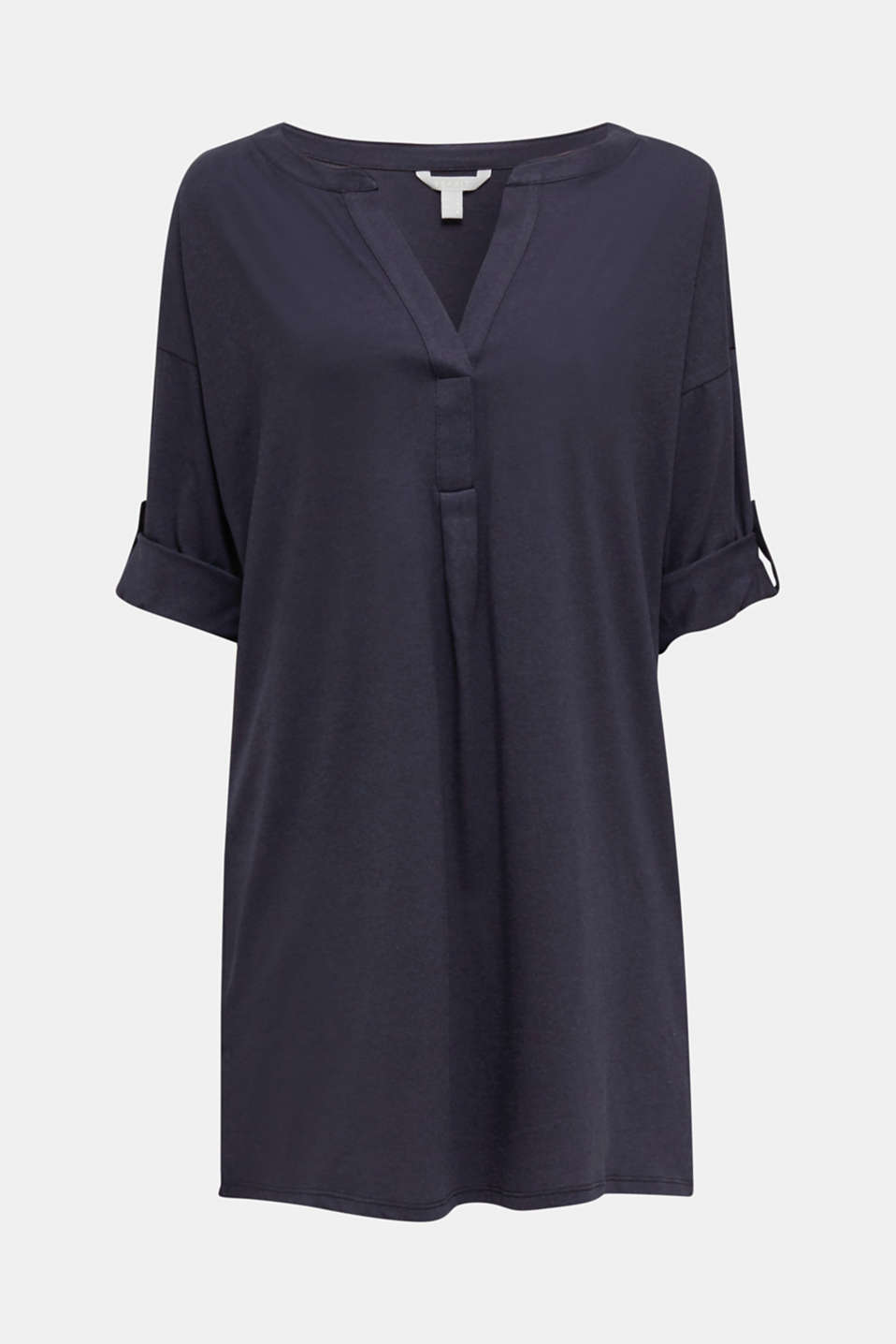 Tunic top with turn-up sleeves, NAVY, detail image number 5