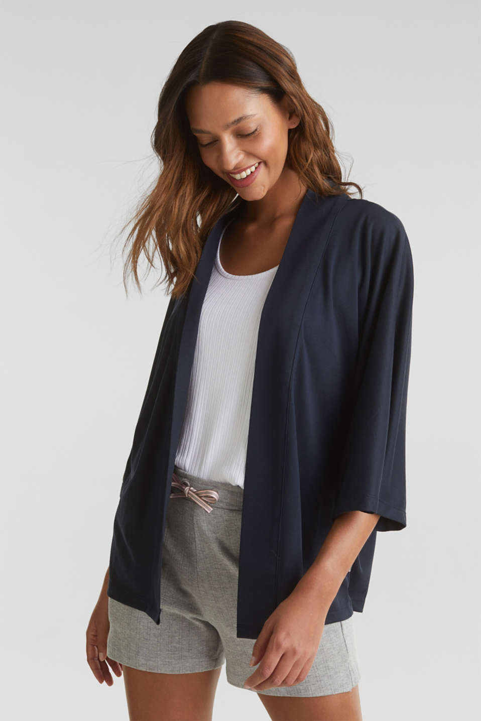 Made of TENCEL™/modal: jersey cardigan, NAVY, detail image number 0