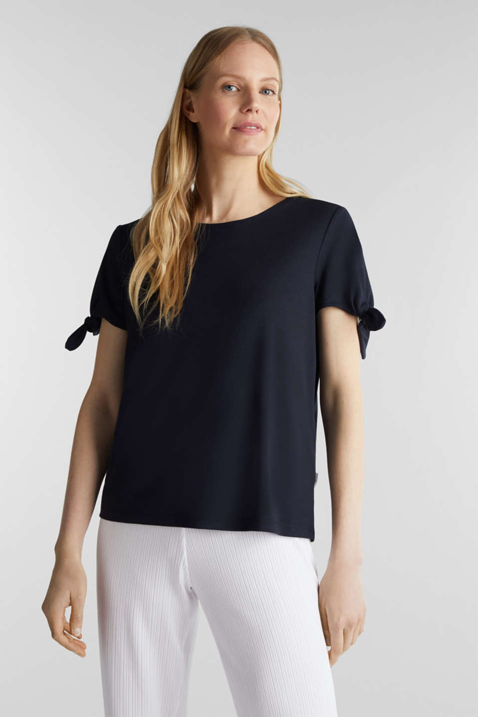 With TENCEL™: top with bows, NAVY, detail image number 0