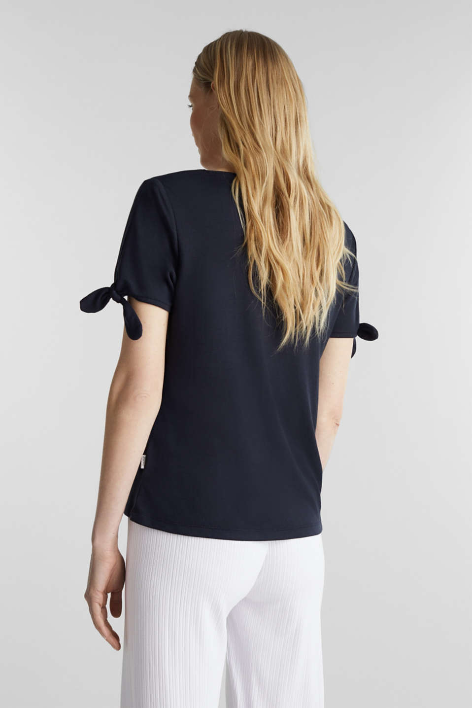 With TENCEL™: top with bows, NAVY, detail image number 3