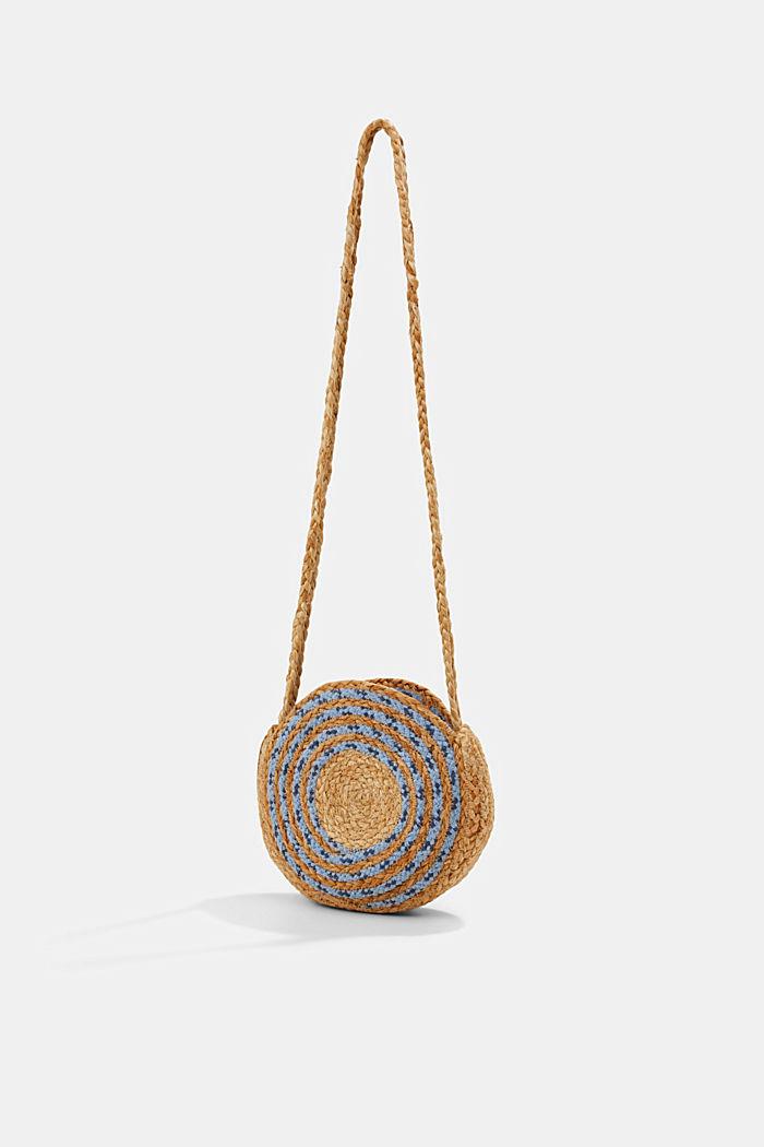 Jute mix round shoulder bag, BLUE, detail image number 0