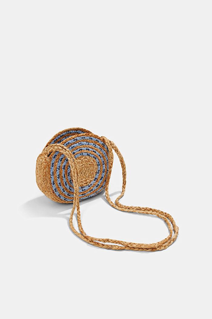 Jute mix round shoulder bag, BLUE, detail image number 5