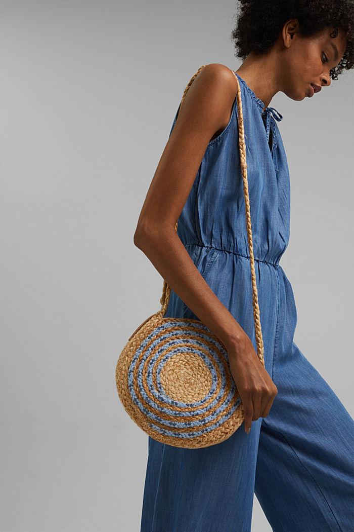 Jute mix round shoulder bag, BLUE, detail image number 6