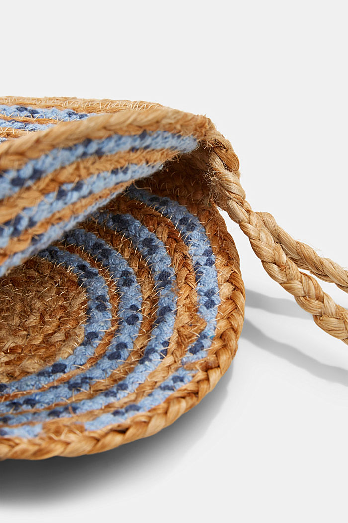 Jute mix round shoulder bag, BLUE, detail image number 4