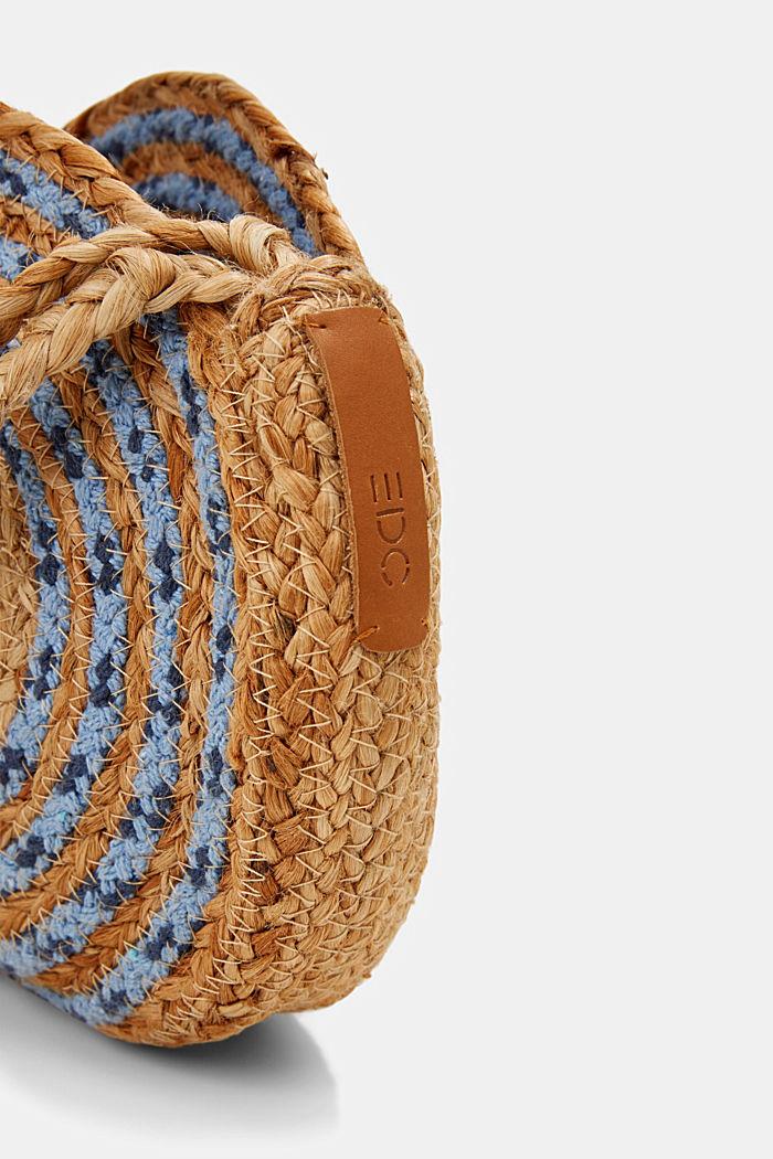 Jute mix round shoulder bag, BLUE, detail image number 3