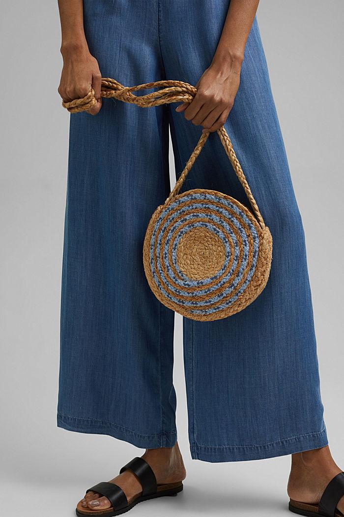 Jute mix round shoulder bag, BLUE, detail image number 1