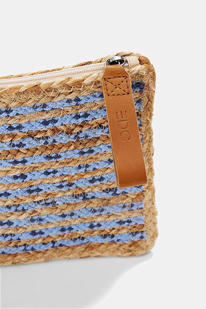 Clutch van een jutemix, BLUE, detail image number 3
