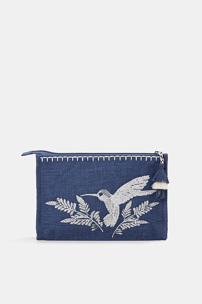Embroidered jute clutch