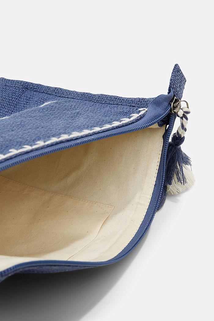 Clutch van jute met borduursel, BLUE, detail image number 4