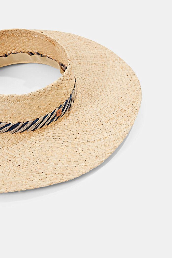 Handmade: open sun hat made of raffia, CREAM BEIGE, detail image number 1