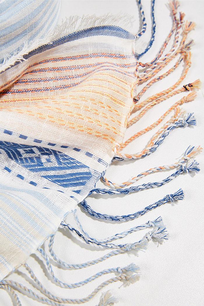 Sjaal met strepen van biologisch katoen, LIGHT BLUE, detail image number 2