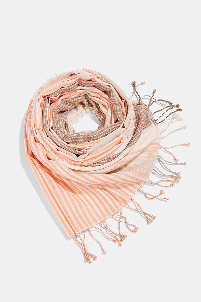 Striped scarf made of organic cotton, ORANGE, detail image number 0