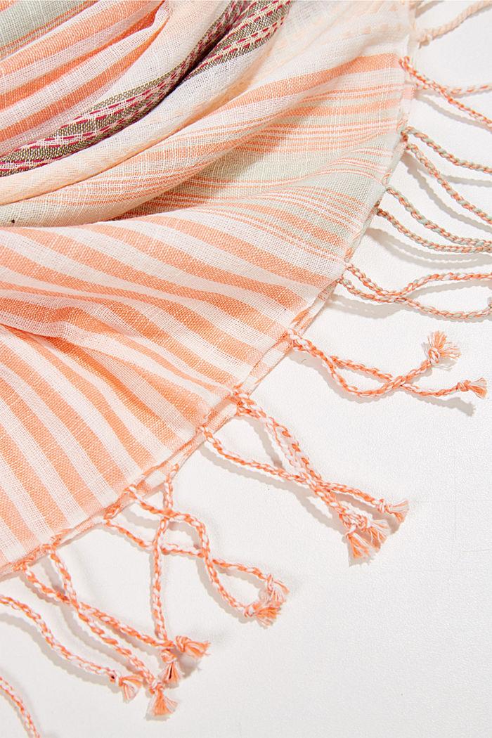 Striped scarf made of organic cotton, ORANGE, detail image number 2