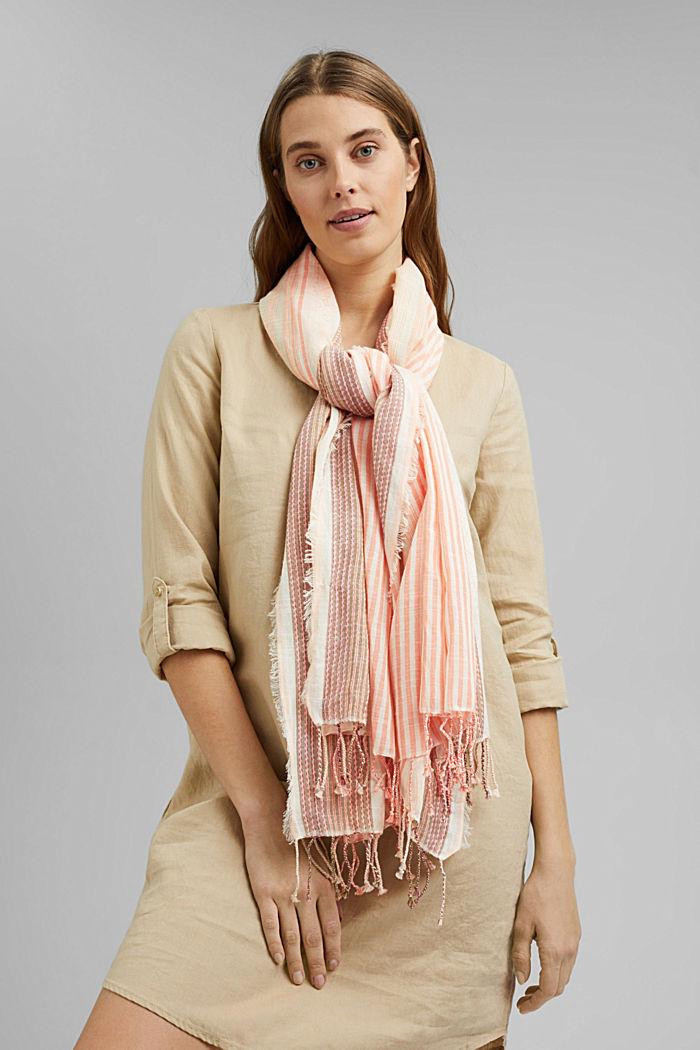 Striped scarf made of organic cotton, ORANGE, detail image number 1