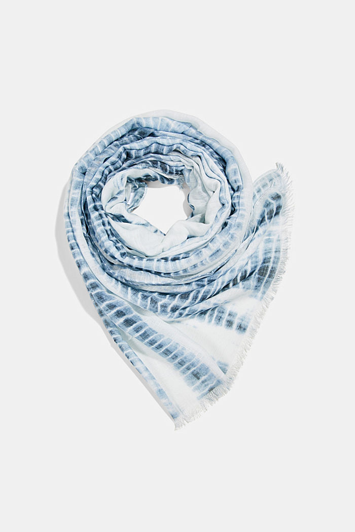 Tie-dye scarf made of LENZING™ ECOVERO™, NAVY, detail image number 0