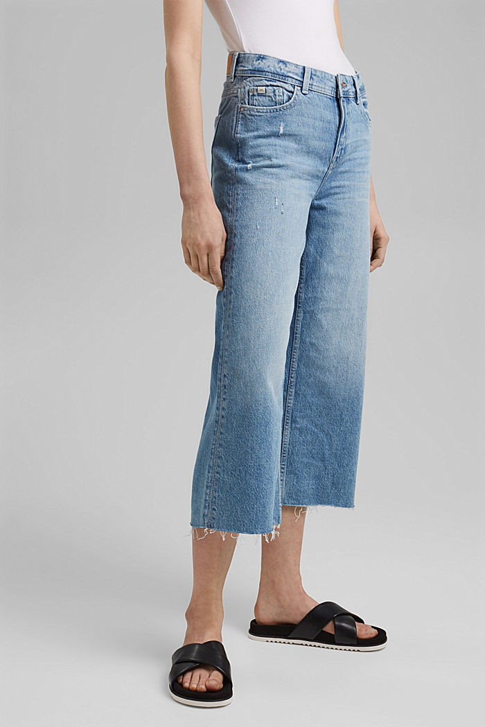 Denim culottes with vintage details, organic cotton, BLUE LIGHT WASHED, detail image number 0