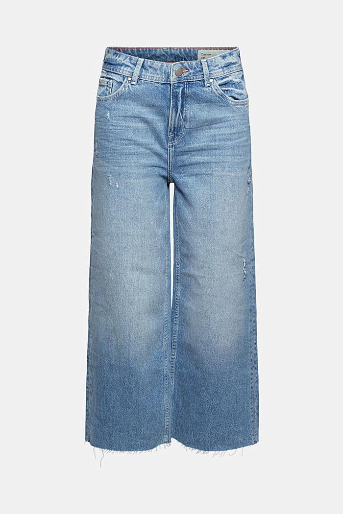 Pantalón culotte vaquero con detalles desgastados y algodón ecológico