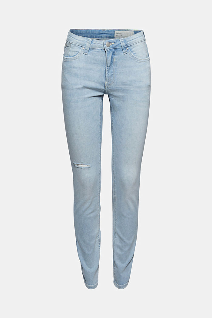 Distressed stretch jeans with organic cotton