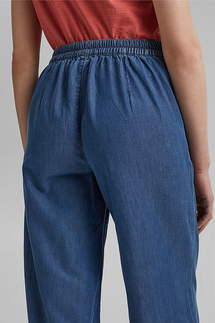 In TENCEL™/cotone biologico: jeans a vita ampia, BLUE MEDIUM WASHED, detail image number 5