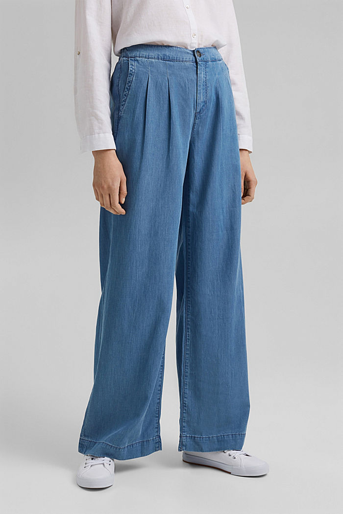 Made of TENCEL™/organic cotton: wide jeans, BLUE LIGHT WASHED, detail image number 0