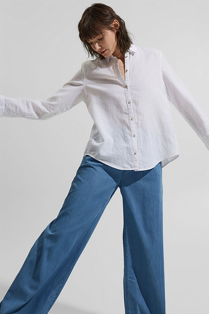 Made of TENCEL™/organic cotton: wide jeans, BLUE LIGHT WASHED, detail image number 5
