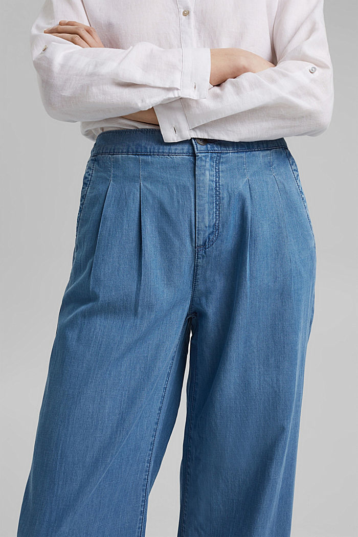 Made of TENCEL™/organic cotton: wide jeans, BLUE LIGHT WASHED, detail image number 2