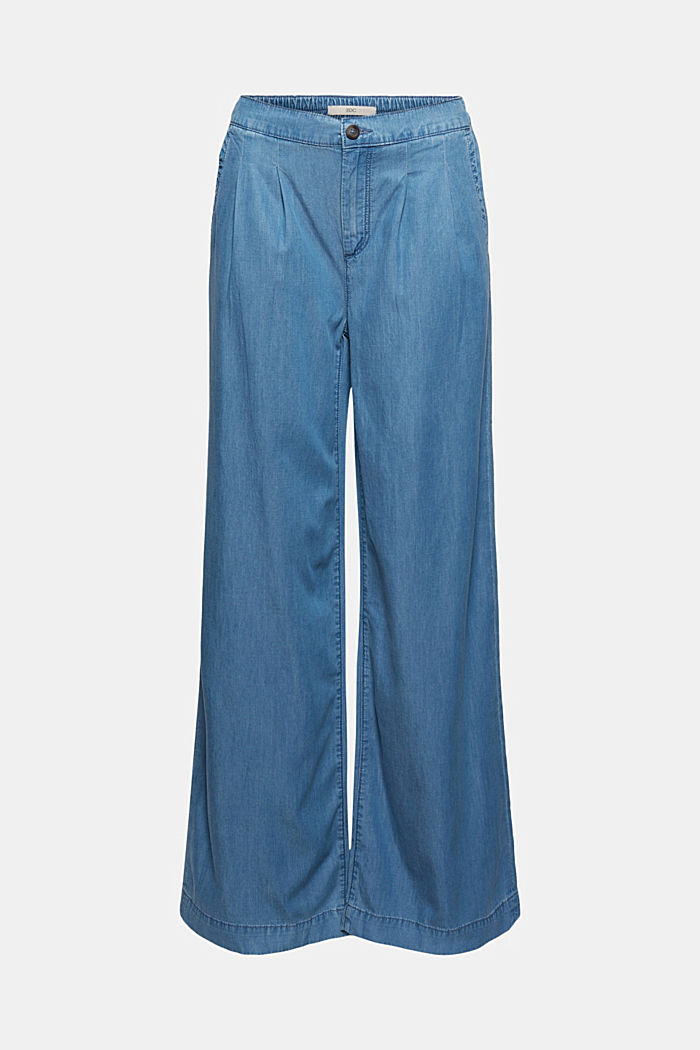 Made of TENCEL™/organic cotton: wide jeans, BLUE LIGHT WASHED, detail image number 6