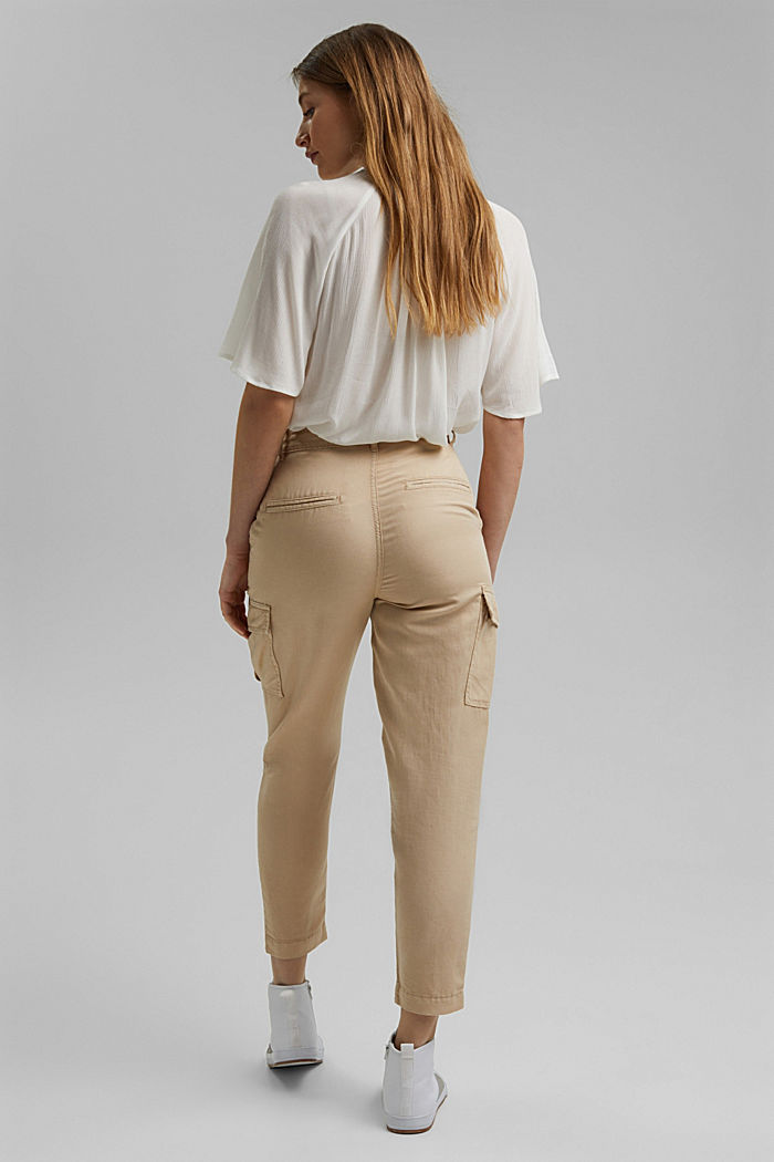 En lin mélangé: pantalon cargo, BEIGE, detail image number 3
