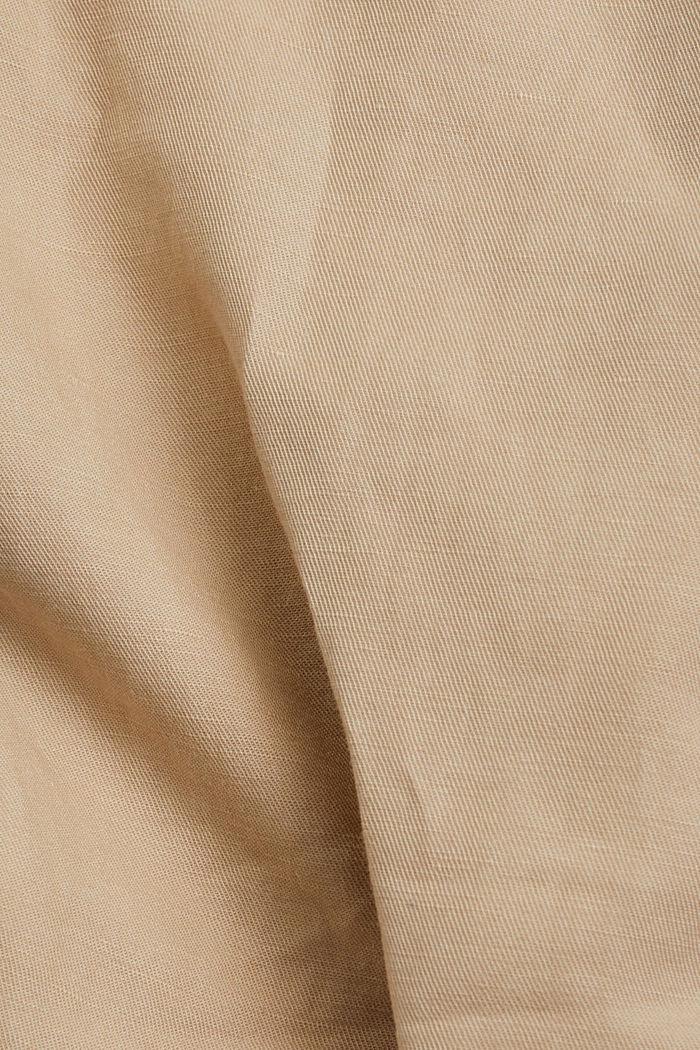 En lin mélangé: pantalon cargo, BEIGE, detail image number 4