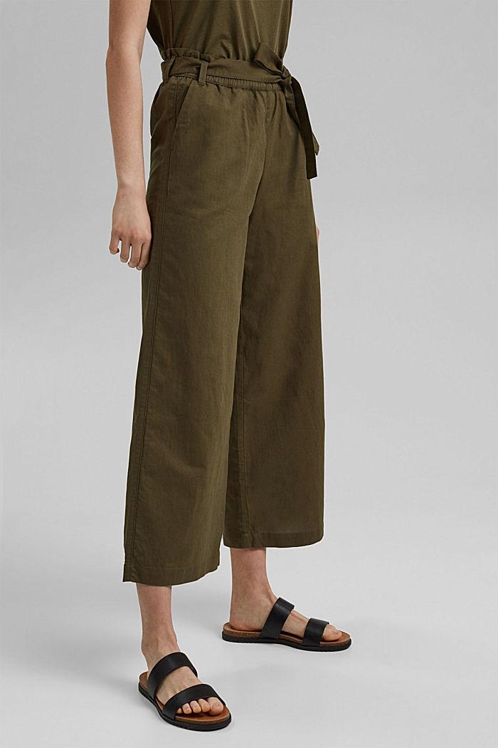 Pellavaa/luomupuuvillaa: culotte-housut ja vyö, KHAKI GREEN, detail image number 0