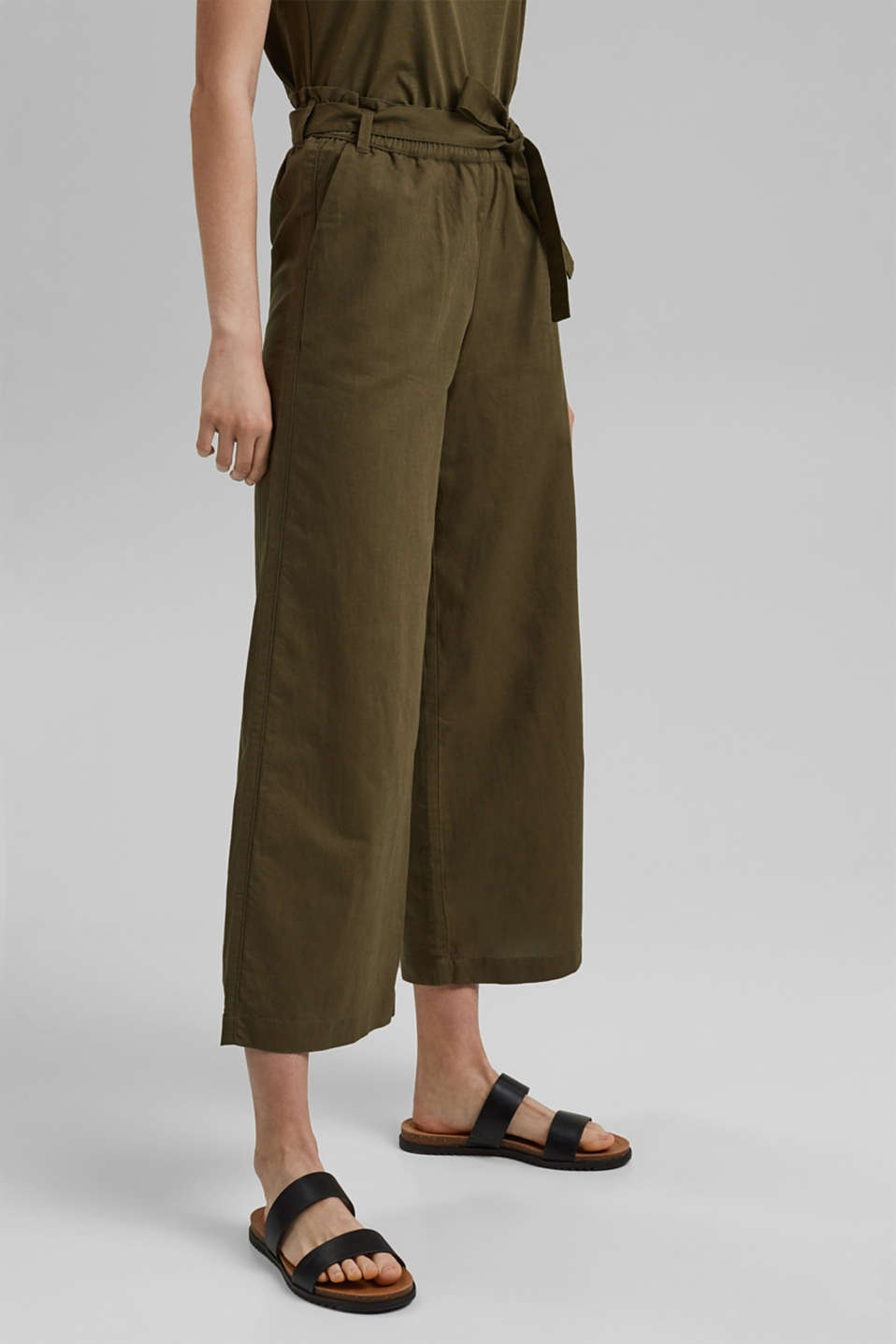 edc - Made of linen/organic cotton: Culottes with a belt