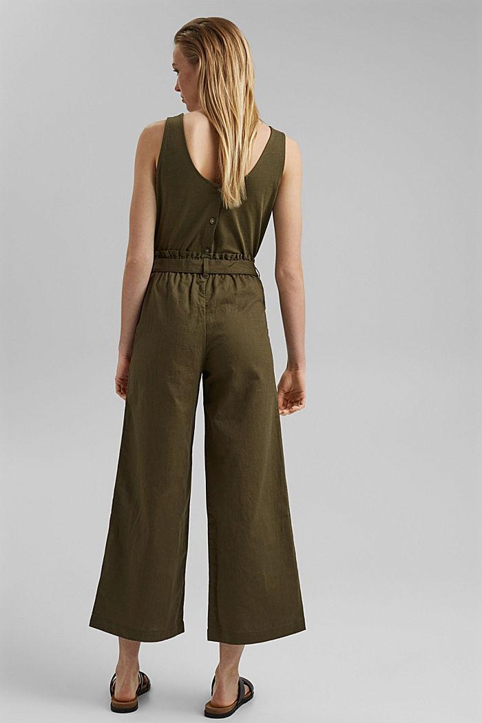 Pellavaa/luomupuuvillaa: culotte-housut ja vyö, KHAKI GREEN, detail image number 3