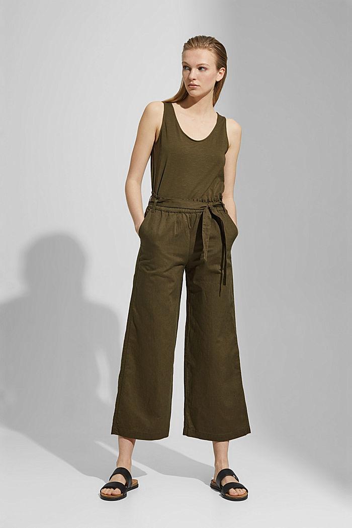 Pellavaa/luomupuuvillaa: culotte-housut ja vyö, KHAKI GREEN, detail image number 1