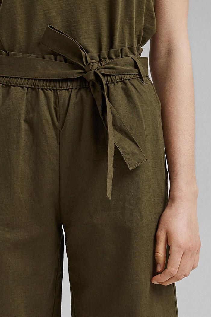 Pellavaa/luomupuuvillaa: culotte-housut ja vyö, KHAKI GREEN, detail image number 2