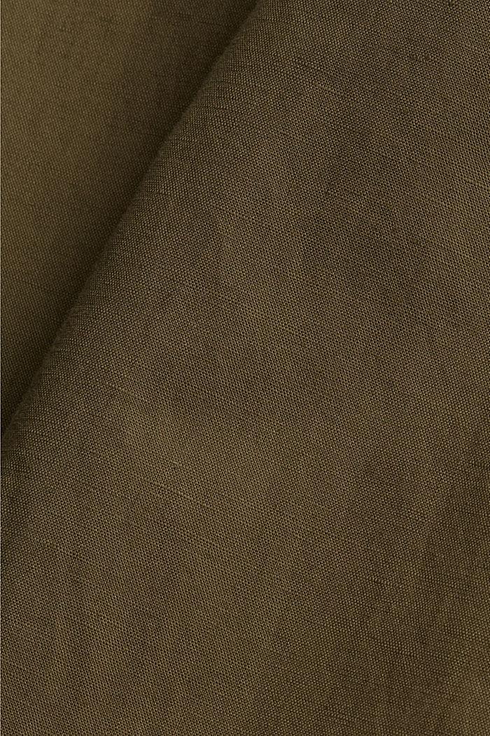 Pellavaa/luomupuuvillaa: culotte-housut ja vyö, KHAKI GREEN, detail image number 4